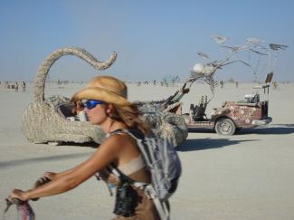 Biker Girl and Cat Car Man on the Playa BM 07