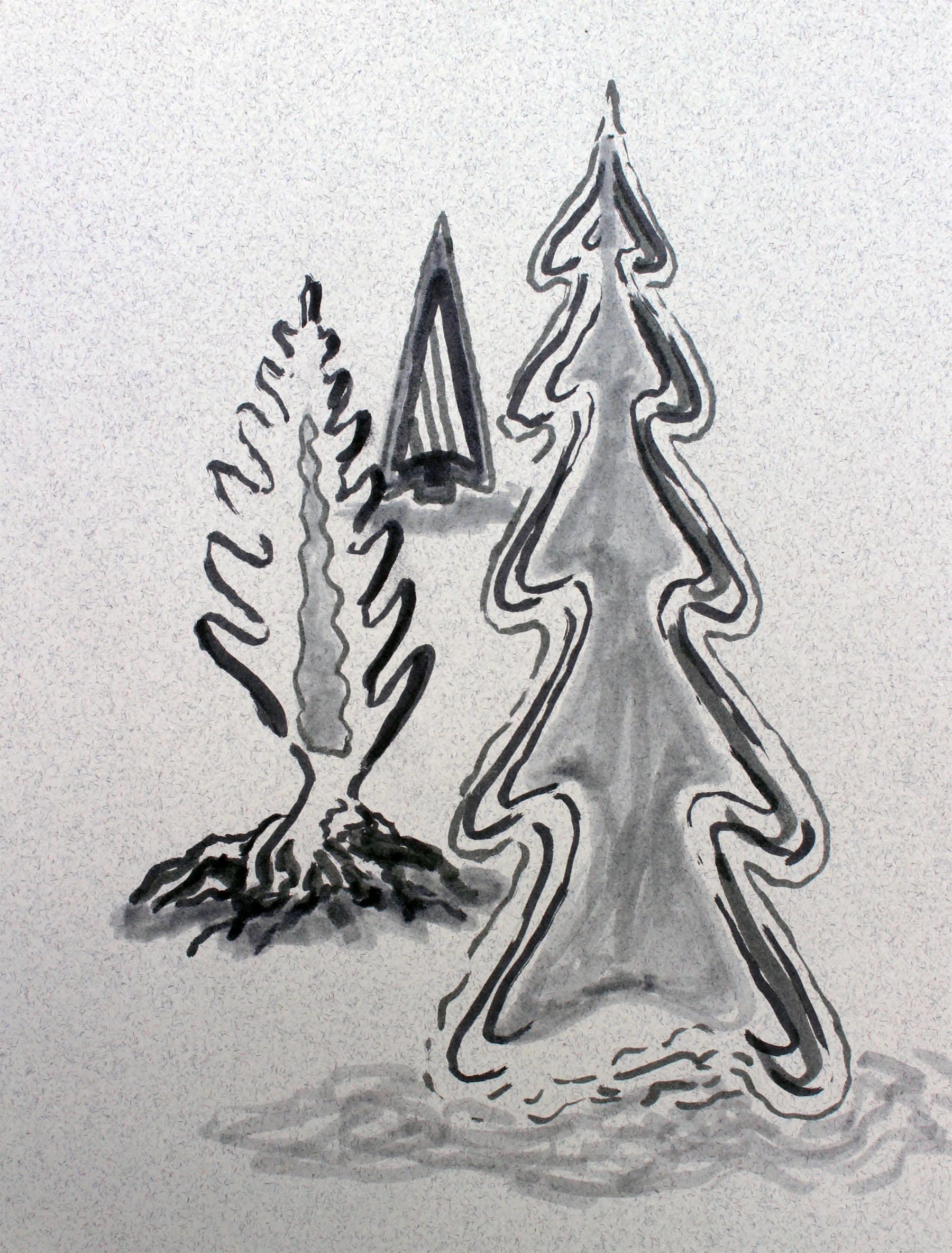 John DeFaro Tree sight tree 2017 pencil and marker on Cranes paper 8pt50 x 6pt50 inches